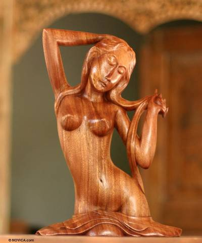 Wood statuette, 'Bathing at a River' - Fair Trade Indonesian Female Form Wood Sculpture