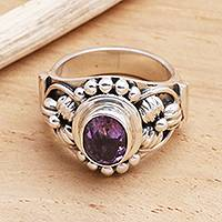 Amethyst solitaire ring, 'Bird Song'