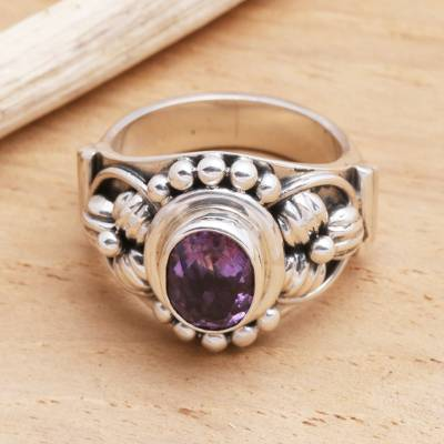 Amethyst solitaire ring, 'Bird Song' - Unique Indonesian Sterling Silver and Amethyst Ring