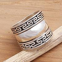 Sterling silver band ring, 'Empire'