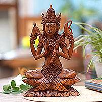 Wood statuette, 'Shiva on Lotus' - Wood statuette