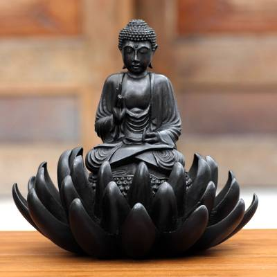 Ebony statuette, 'Buddha on Lotus Blessing' - Artisan Crafted Wood Sculpture from Indonesia