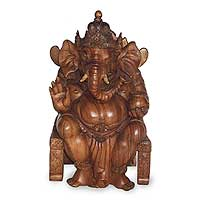 Wood statuette, 'Ganesha on Chair' - Handmade Wood Hindu Sculpture