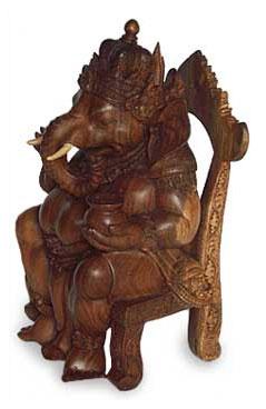 Wood statuette, 'Ganesha on Chair' - Handmade Wood Hindu Sculpture
