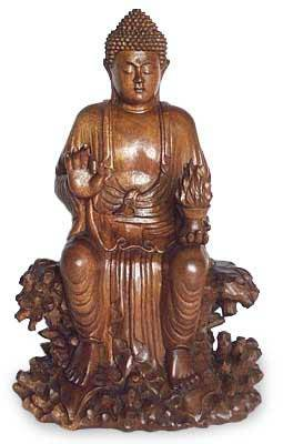 Wood statuette, 'Buddha on Coral' - Wood statuette