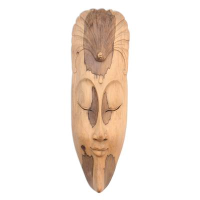 Wood mask, 'Mask with Flower' - Wood Mask from Indonesia