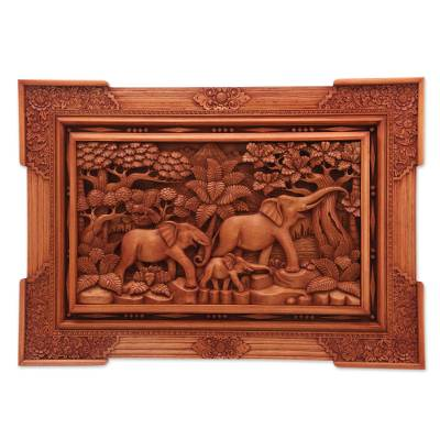 Wood relief panel, 'Long Journey' - Hand Made Elephant Relief Panel