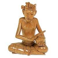 Wood statuette, 'Playing Kemong' - Wood statuette