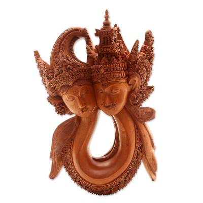 Wood sculpture, 'Rama and Sita Harmony' - 'Rama and Sita Harmony Hand Carved Balinese Sculpture