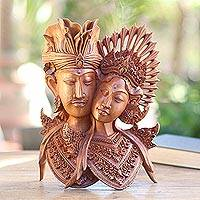 Wood statuette, 'To the Bride and Groom' - Wood statuette