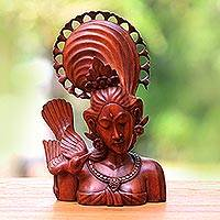 Wood statuette, 'Bird Sister' - Wood statuette