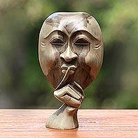 Wooden statuette, 'Silence is Golden' - Original Hibiscus Wood Sculpture