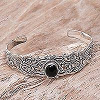 Onyx bracelet, 'Eagle Eye' - Silver and Onyx Bracelet