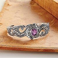 Amethyst cuff bracelet, 'Regal Ivy' - Amethyst and Sterling Silver Cuff Bracelet