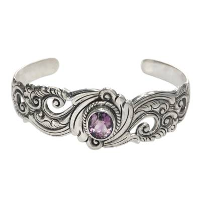 Amethyst cuff bracelet, 'Regal Ivy' - Amethyst on Floral Theme Sterling Silver Cuff Bracelet
