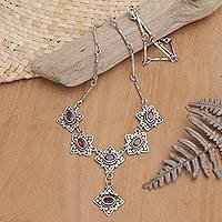 Sterling silver and garnet Y Necklace, 'Stellar Sextet' - Exquisite Sterling Silver Artisan Crafted Necklace