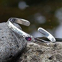 Garnet cuff bracelet, 'Eye of Beauty' - Garnet Sterling Silver Cuff Bracelet from Indonesia