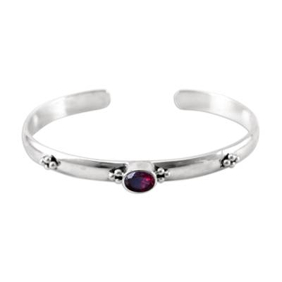 Garnet cuff bracelet, 'Eye of Beauty' - Garnet Sterling Silver Cuff Bracelet from Indonesia