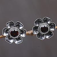 Garnet earrings, 'Red-Eyed Rose' - Garnet Sterling Silver Floral Button Earrings