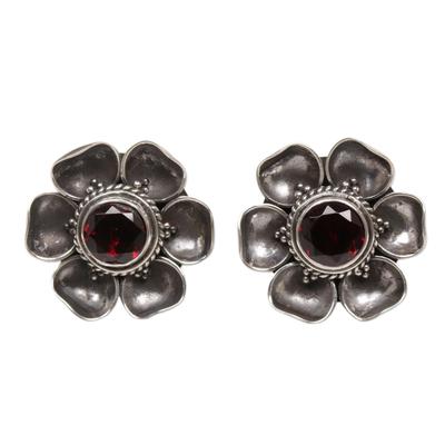 Garnet Sterling Silver Floral Button Earrings