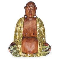 Wood statuette, 'Wise Buddha' - Handmade Suar Wood Sculpture