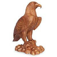 Wood sculpture, 'Powerful Eagle' - Wood Bird Sculpture