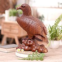 Wood sculpture, 'Powerful Eagle' - Wood Bird Sculpture