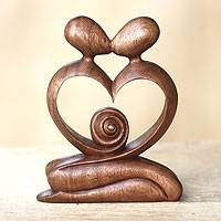 Wood sculpture, 'Love of My Life' - Hand Carved Romantic Wood Sculpture