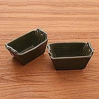 Stoneware ceramic bowls, 'Folded Bananas' (pair) - Green Stoneware Ceramic Bowls (Pair)