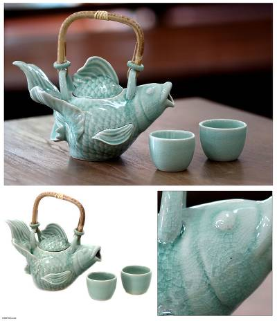 Stoneware tea set, 'Fish Legends in Green' (set for 2) - Stoneware Ceramic Teapot and Cups (Set for 2)