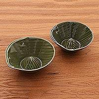 Stoneware ceramic bowls, 'Rounded Bananas' (pair) - Green Handmade Ceramic Bowls (Pair)