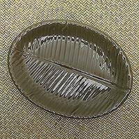Stoneware ceramic serving platter, 'Oval Banana Leaf' - Fair Trade Stoneware Ceramic Serving Platter