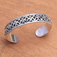 Sterling silver cuff bracelet, 'Lucky Stars' - Bracelet