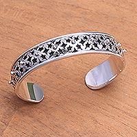 Sterling silver cuff bracelet, 'Lucky Stars' - Sterling Silver Star Motif Cuff Bracelet from Bali