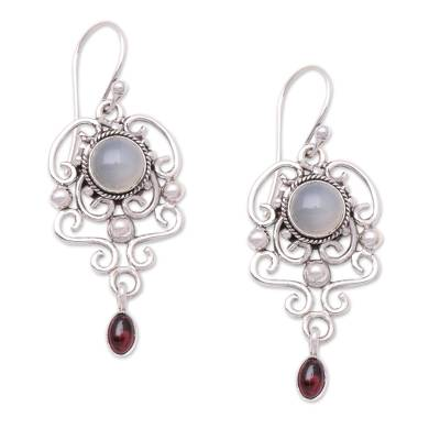 Moonstone and garnet dangle earrings, 'Spirit Chandelier' - Moonstone and garnet dangle earrings