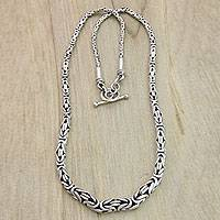 Sterling silver chain necklace, 'Memoirs'
