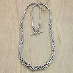 Indonesian Sterling Silver Chain Necklace, 'Memoirs'