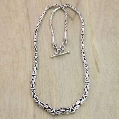Sterling silver chain necklace, 'Memoirs' - Indonesian Sterling Silver Chain Necklace