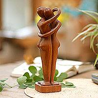 Wood statuette, 'Hold Me Tight' - Romantic Wood Statuette
