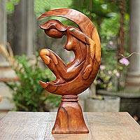Wood statuette, 'The Moon Goddess II' - Suar Wood Statuette