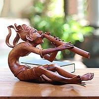 Wood statuette, 'Balinese Musician' - Wood statuette