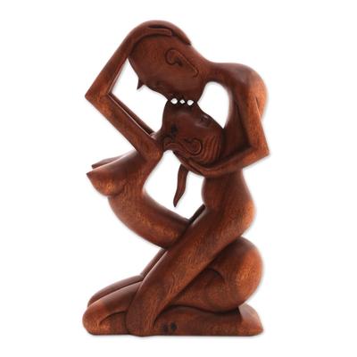 Wood statuette, 'Upside-down Kissing' - Romantic Wood Sculpture