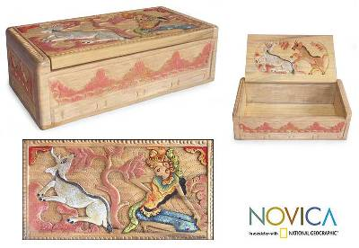 Hinduism Carved Wood Jewelry Box