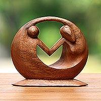 Wood sculpture, 'World Peace' - Unique Hand Carved Suar Wood Sculpture