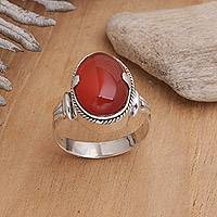Carnelian solitaire ring, 'Dragon Eye'