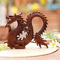 Wood wall panel, 'Fiery Dragon' - Handcrafted Wood Relief Panel