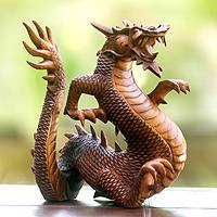 Wood sculpture, 'Legendary Dragon' - Suar Wood Carving from Indonesia