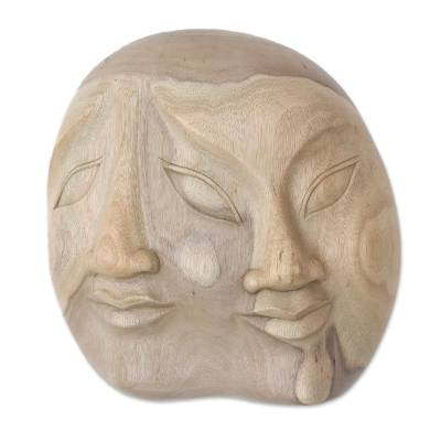 Wood mask, 'Two Dimensions' - Indonesian Hibiscus Wood Mask