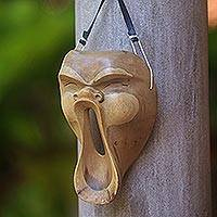 Wood mask, 'Scream' - Hand Carved Modern Mask