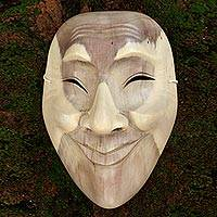 Wood mask, 'Smile Up' - Modern Wood Mask from Indonesia